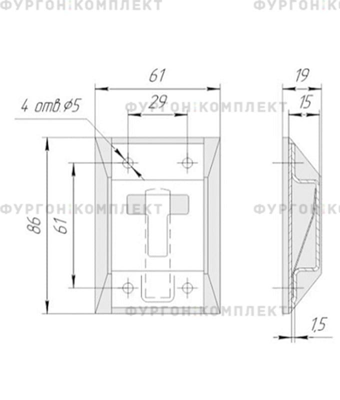 Фиксатор дверной Т-образный (из оцинкованной стали)