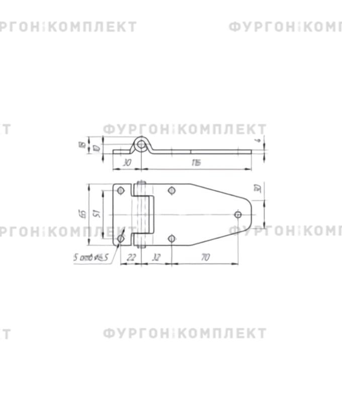 Петля боковой двери (длина 116 мм, оцинкованная сталь)