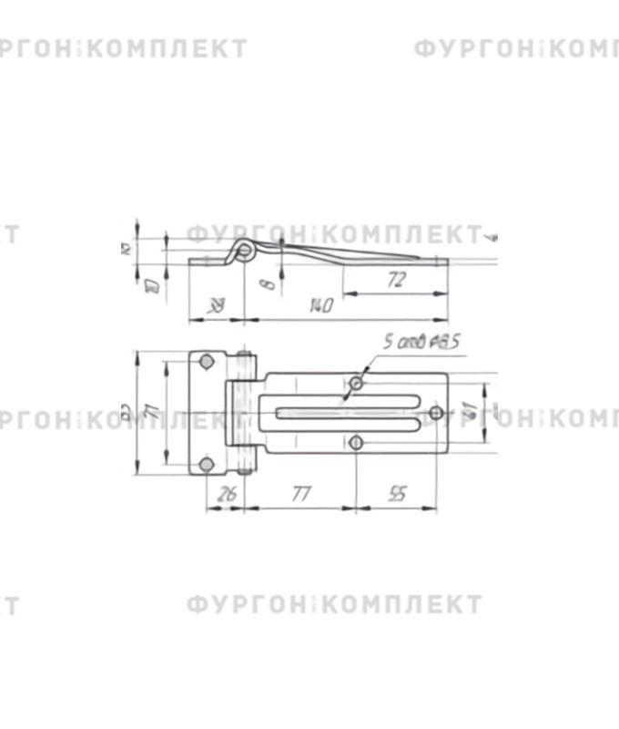 Петля боковой двери (длина 140 мм, оцинкованная сталь)