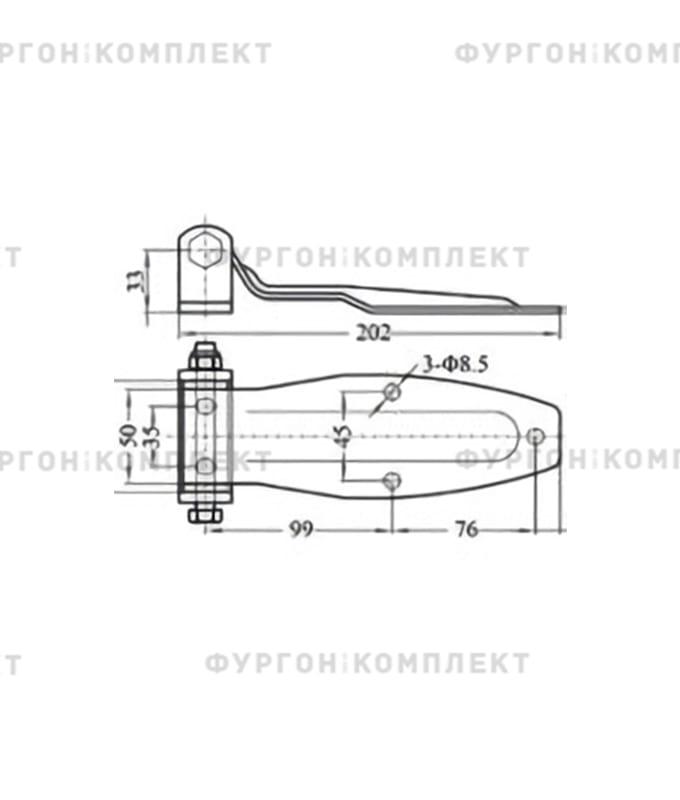 Петля заднего портала (длина 190 мм, оцинкованная сталь)