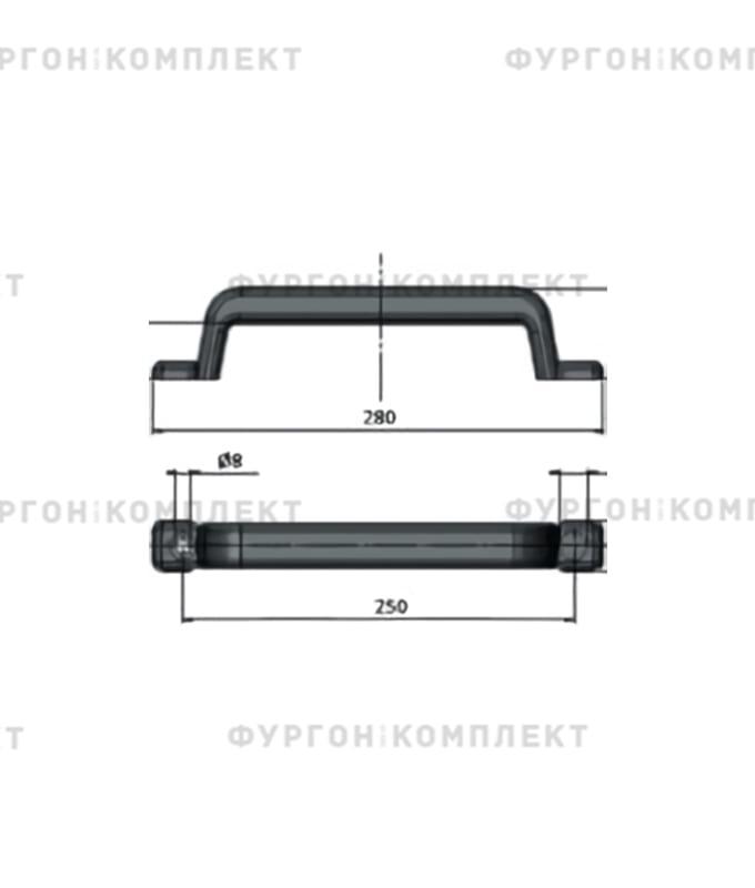 Ручка пластиковая со стальной пластиной (длина 280 мм)