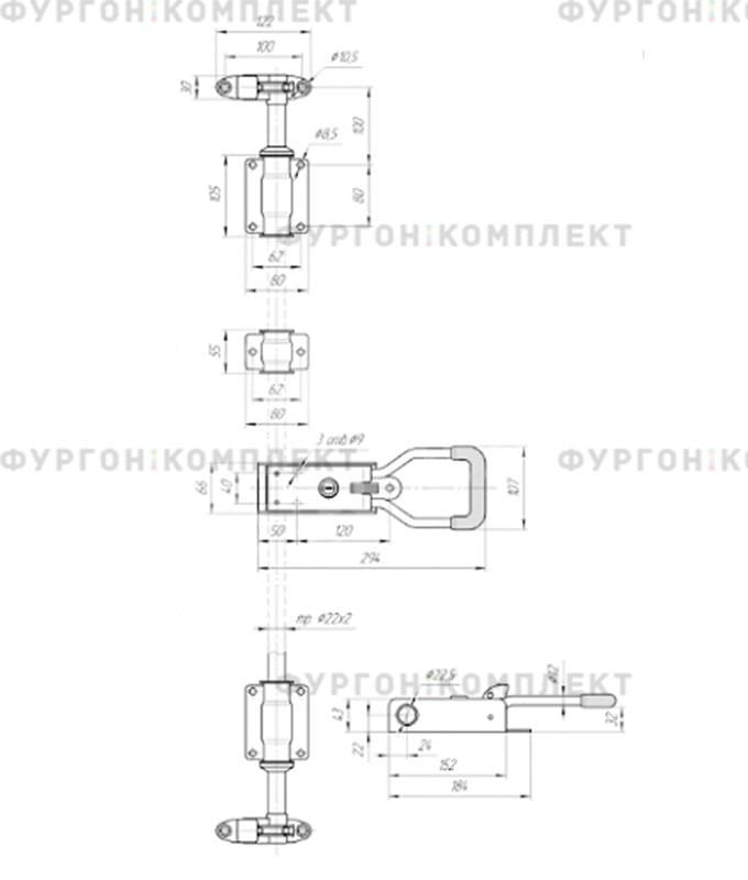 Штанговый запор  с рукояткой «Push» (диаметр штанги 22мм)