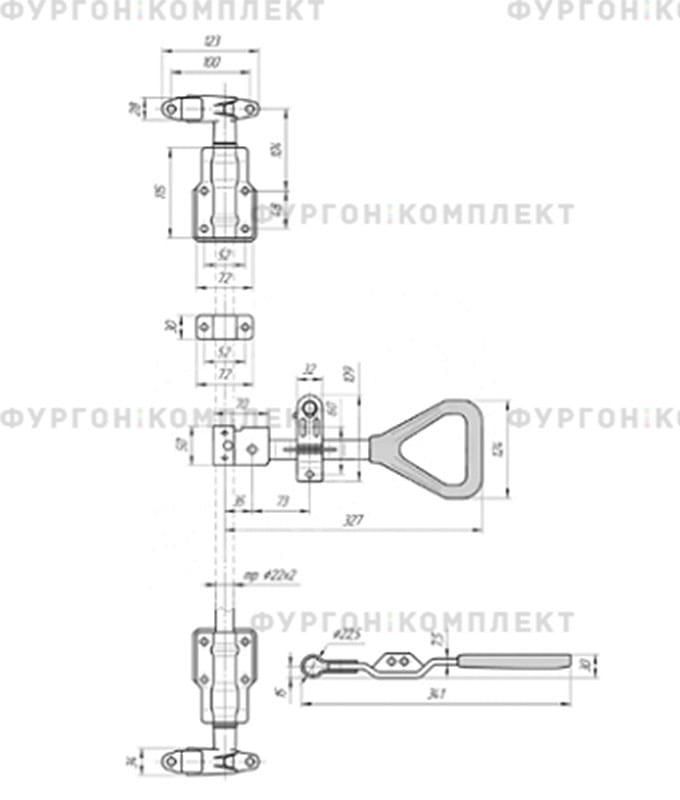 Штанговый запор с рукояткой «Дельта» (диаметр штанги 27мм)