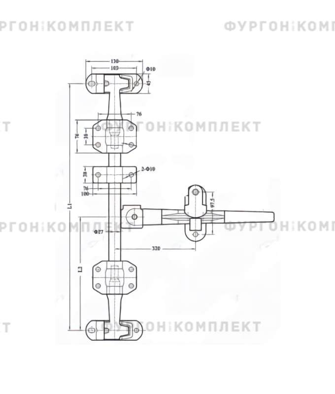 Штанговый запор спрямой ручкой (диаметр штанги 27 мм)
