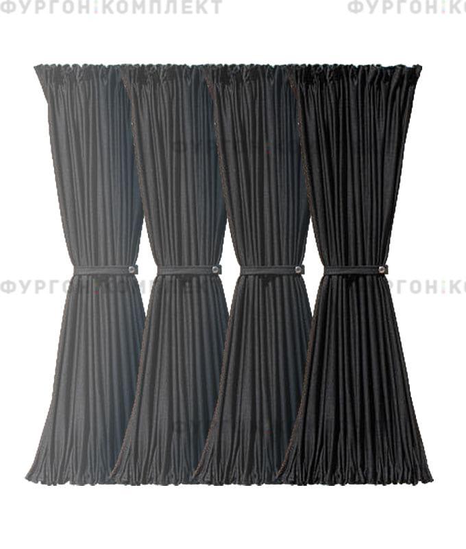 Комплект шторок чёрный (4 штуки, с направляющими и фурнитурой)