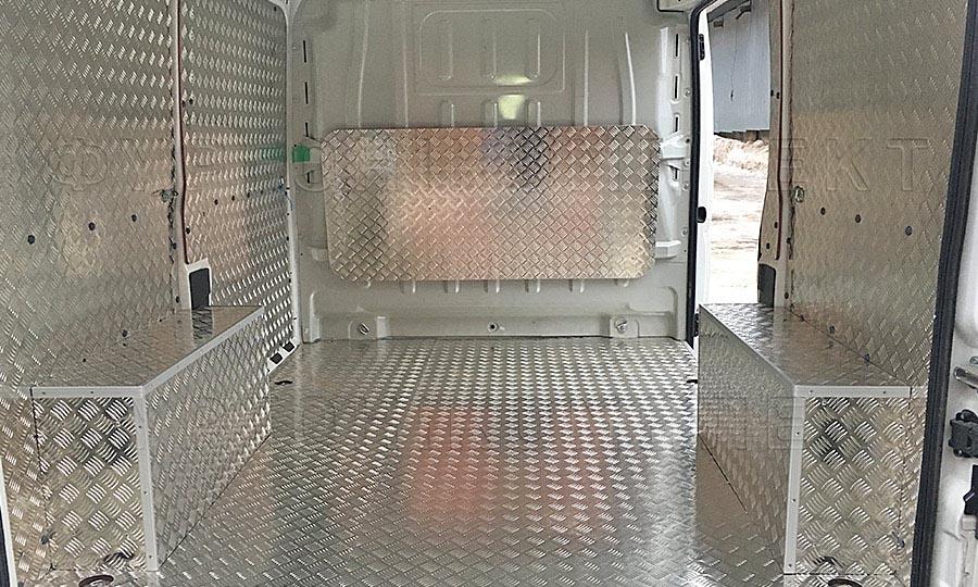 Обшивка фургона Fiat Ducato L1H1: Стены, арки, пол и перегородка