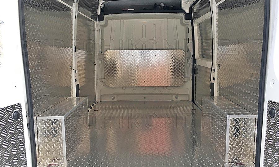 Обшивка фургона Peugeot Boxer L3H3: Стены, пол, арки и перегородка