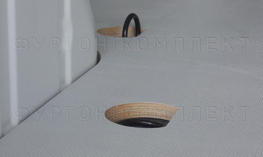 Обшивка фургона Mercedes-Benz Vito L1H1: Углубления петель при обшивке пола