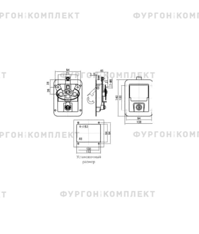Замок клавишный с вертикальным механизмом (140 мм)