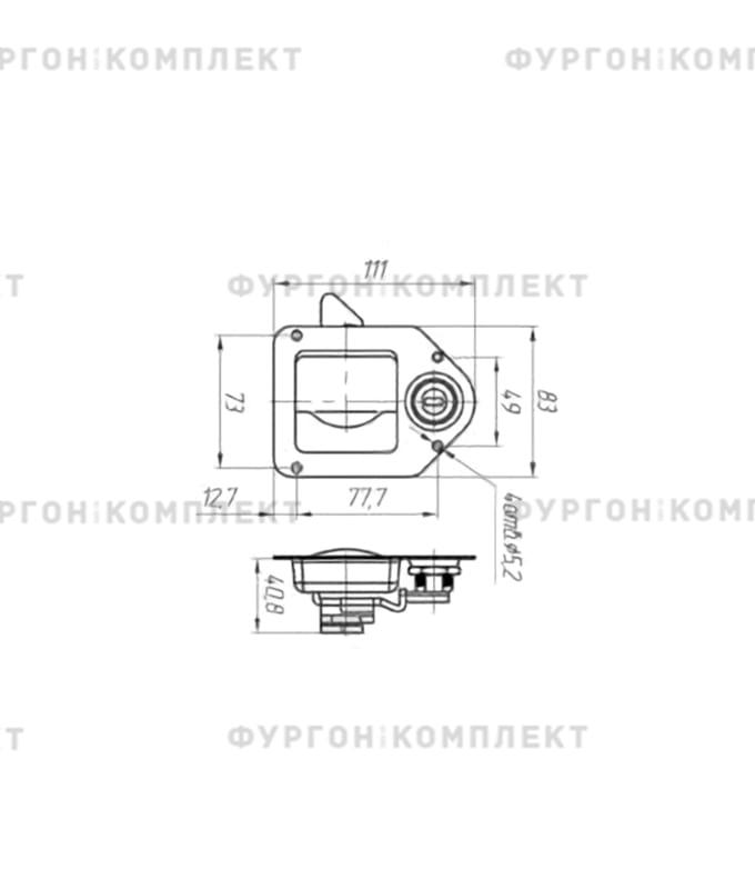 Замок клавишный для ящиков (110 мм)