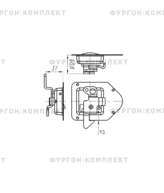Замок клавишный для ящиков (110 мм, без «личинки» под ключ)