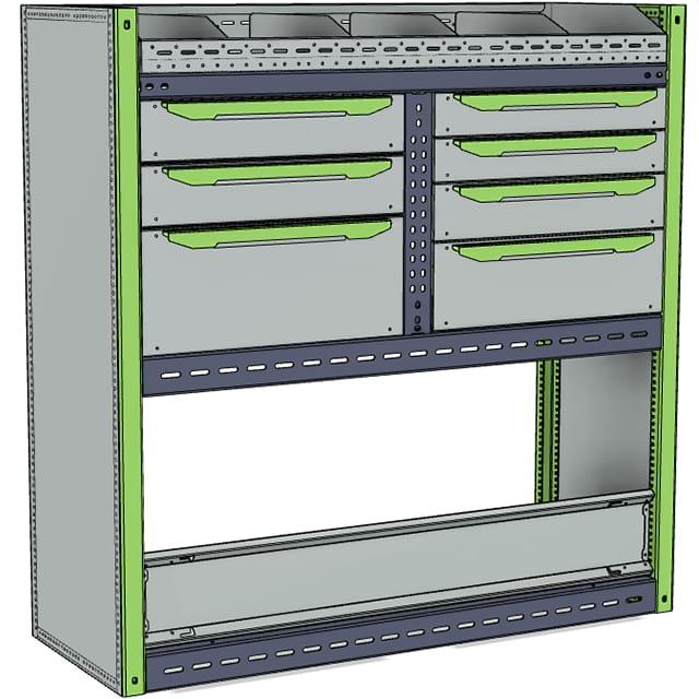 Стеллажи для Ford TransitVII (2014 - н.в.). Блок 1075x1080x400 R
