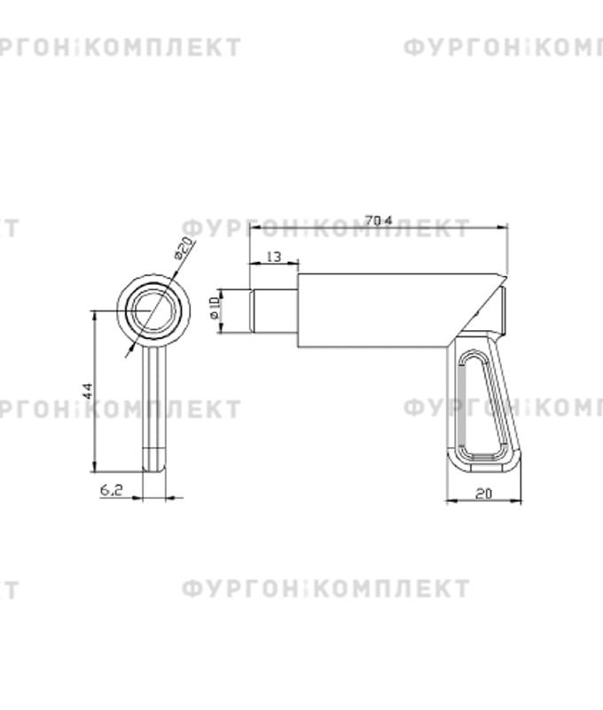 Фиксатор дверной пружинный (размер 70 мм)