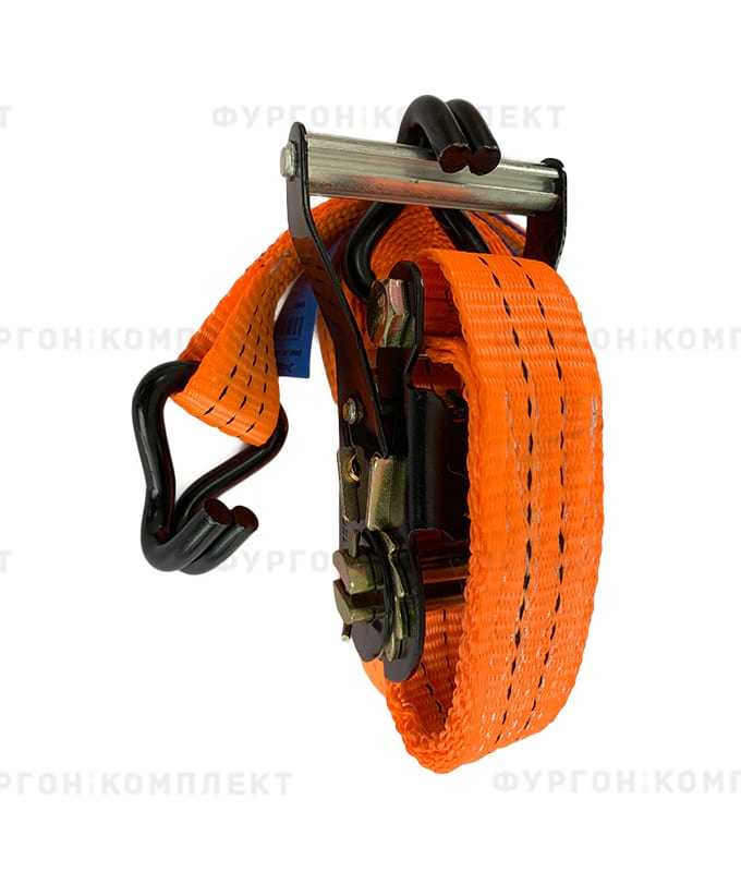 Оранжевый стяжной ремень скрюками (ширина 35мм, до1.5-3т)