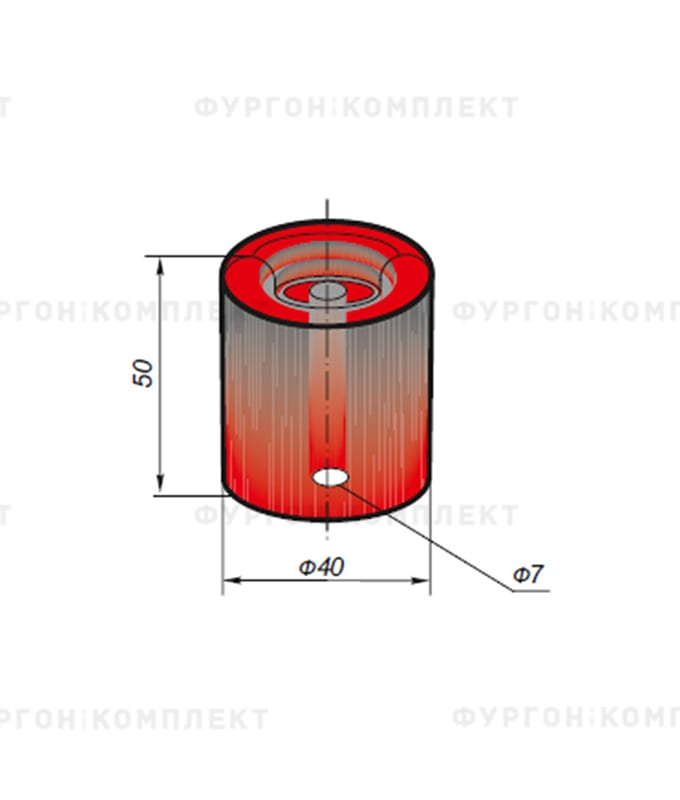 Отбойник цилиндрический → ø: 40мм, H: 50мм, 0.09кг (ø отверстия: 7мм)