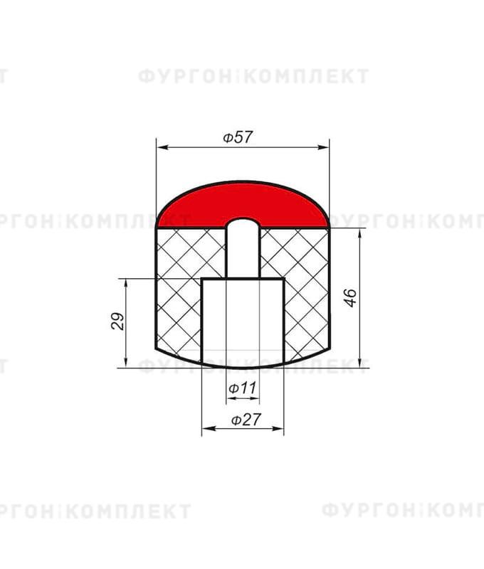 Отбойник цилиндрический → ø: 57мм, H: 45мм, 0.145кг (ø отверстия: 11мм)