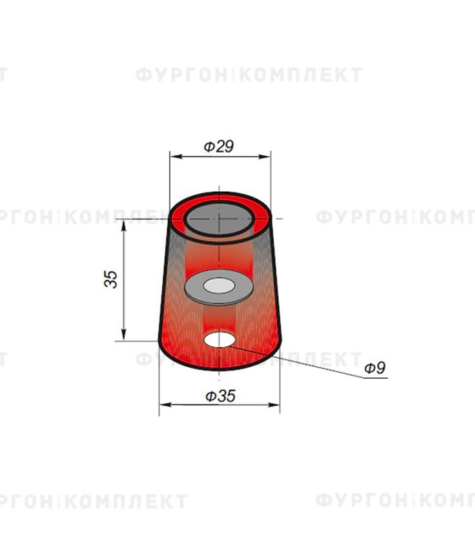 Отбойник конический (ø:35мм, H:35мм, 0.03кг, øотверстия: 9мм, одно отверстие)