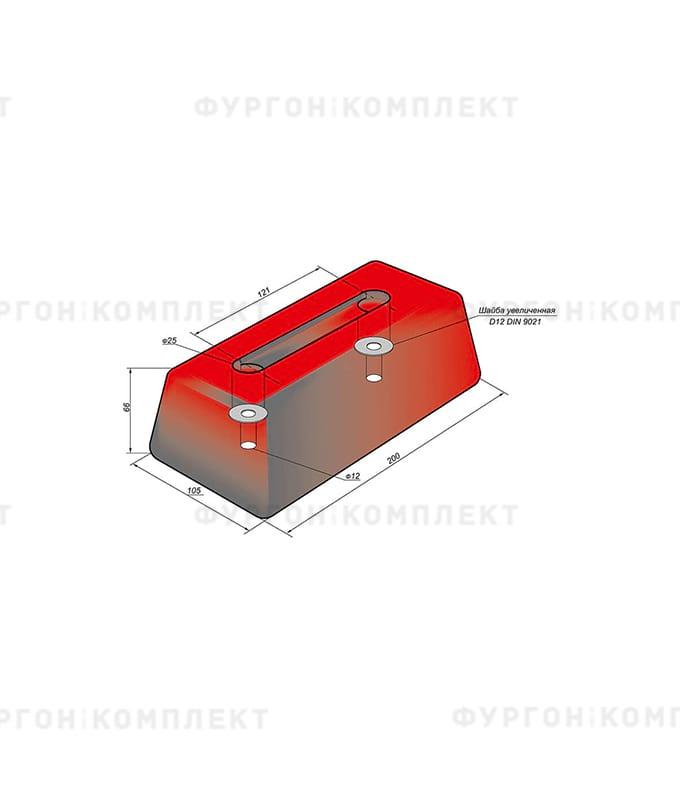 Отбойник прямоугольный → 200×105×66мм, 1.7кг (øотверстий: 12мм)