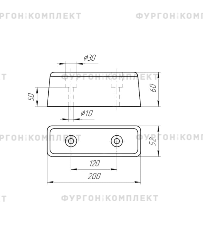 Отбойник прямоугольный → 200×52×60мм, 0.65кг