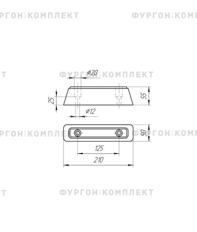Отбойник резиновый (размер 210 х 50 х 55 мм)