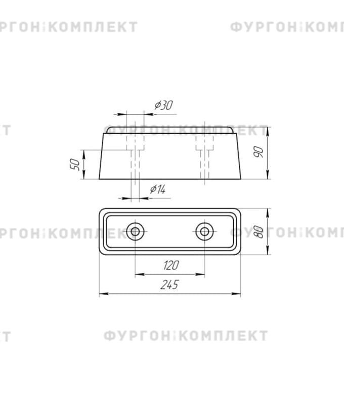 Отбойник резиновый → 250х85х90 мм (2 отверстия, 0,6 кг)
