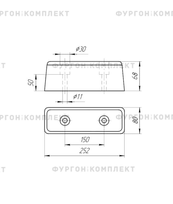Отбойник резиновый → 252х80х67 мм (2 отверстия, 1,4 кг)