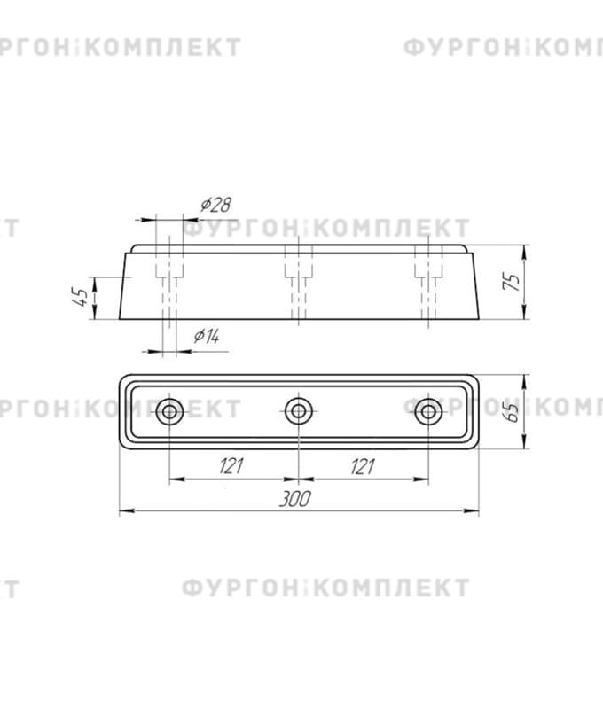 Отбойник резиновый (размер 300 х 70 х 80 мм)