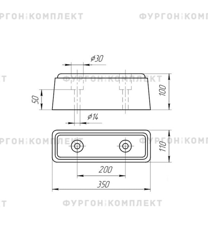 Отбойник резиновый (размер 350 х 120 х 100 мм)