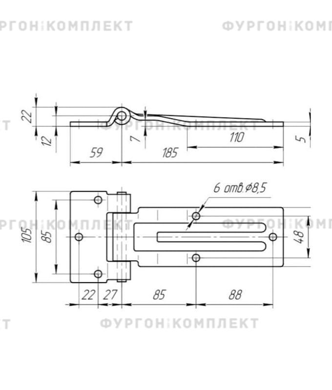 Прямая петля боковой двери (длина 185 мм, оцинкованная сталь)