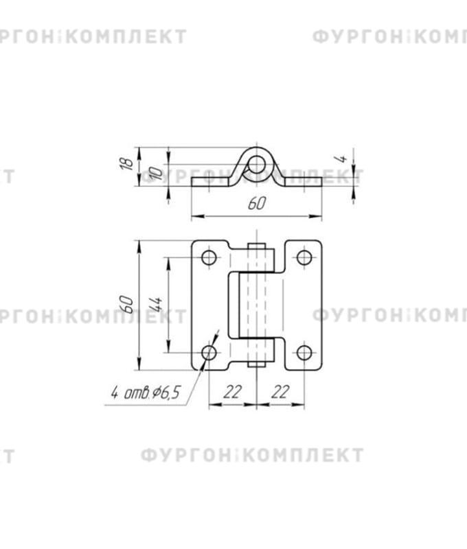 Петля для люков и ящиков (60x60 мм, нержавеющая сталь)