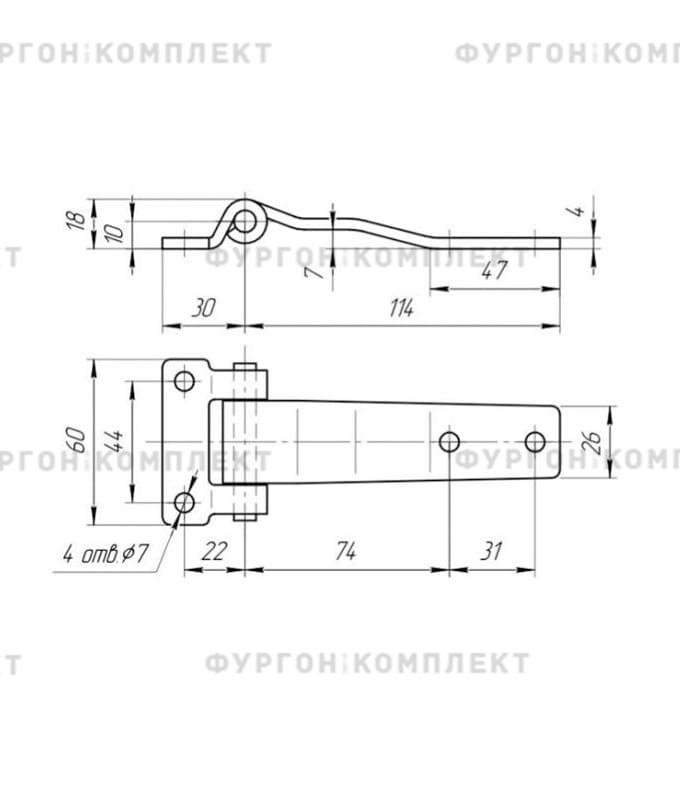 Петля для люков и ящиков (длина 114 мм, нержавеющая сталь)