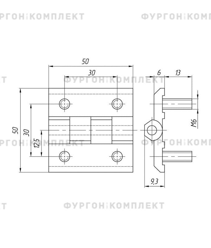Петля для люков, ящиков и электрошкафов (длина 50 мм, цинковый сплав)