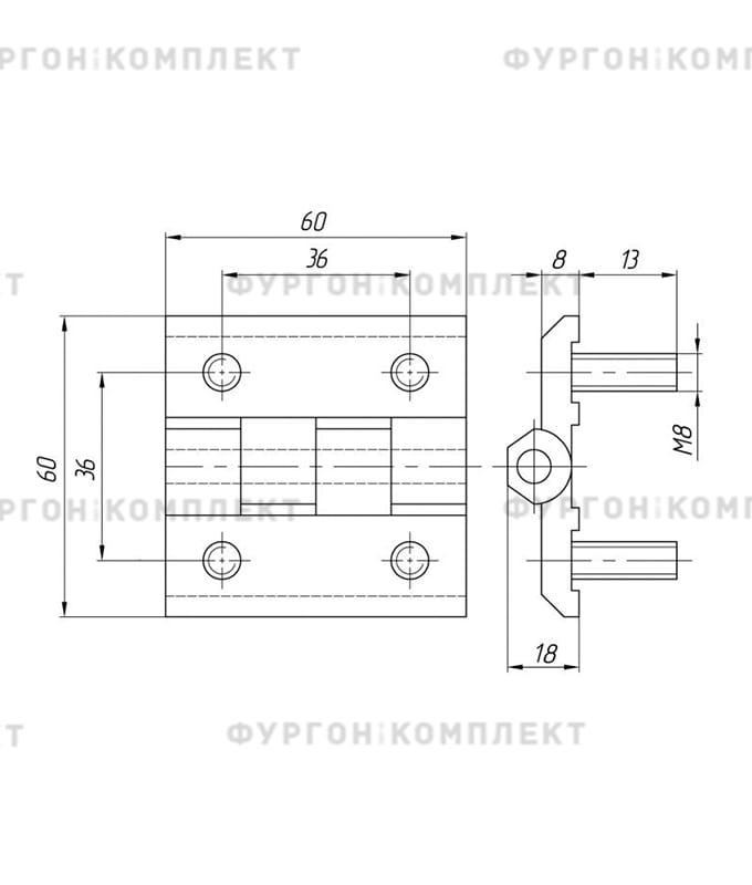 Петля для люков, ящиков и электрошкафов (длина 60 мм, цинковый сплав)