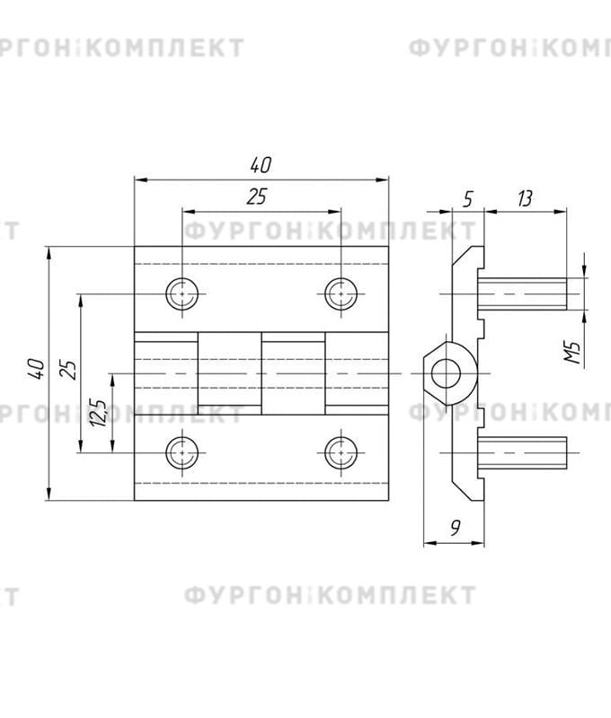 Петля для люков, ящиков и электрошкафов (длина 40 мм, цинковый сплав)