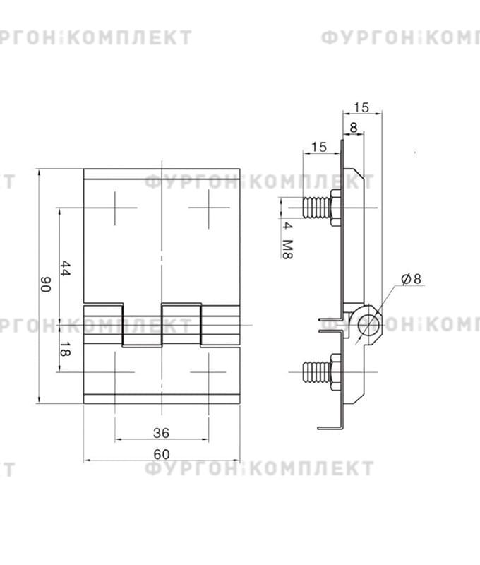 Петля для люков, ящиков и электрошкафов (длина 90 мм, цинковый сплав)