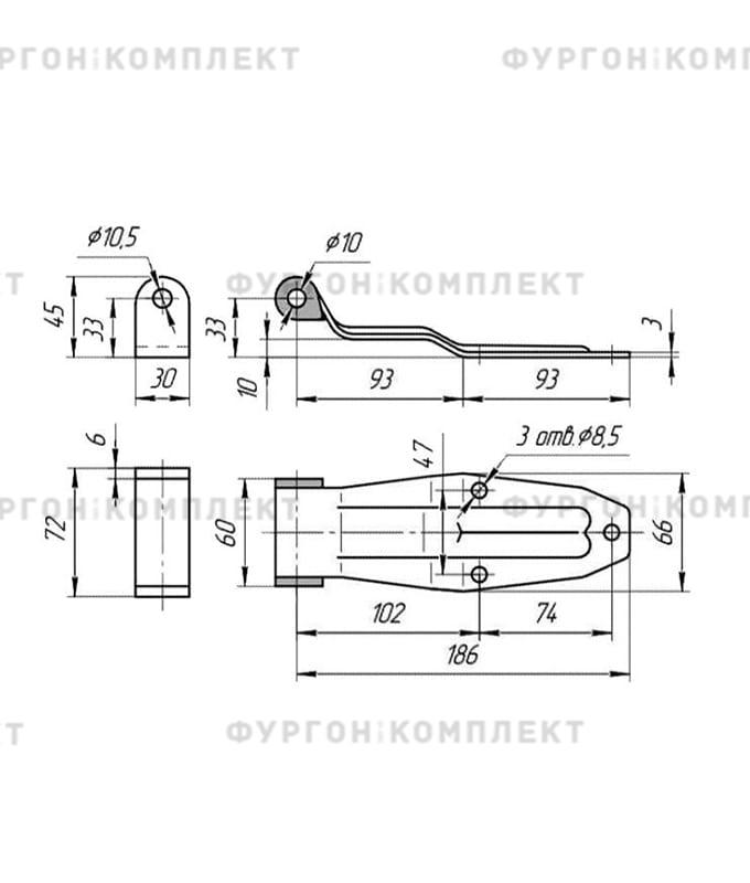 Петля заднего портала (длина 190 мм, нержавеющая сталь)