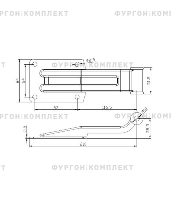 Петля заднего портала (длина 210 мм, нержавеющая сталь)