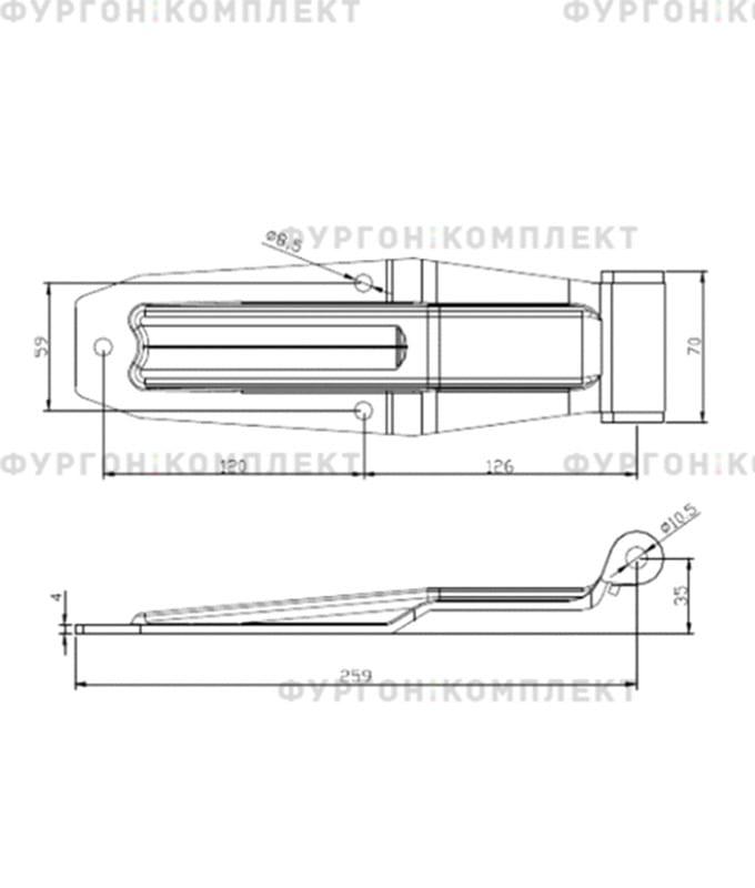 Петля заднего портала (длина 255 мм, нержавеющая сталь)