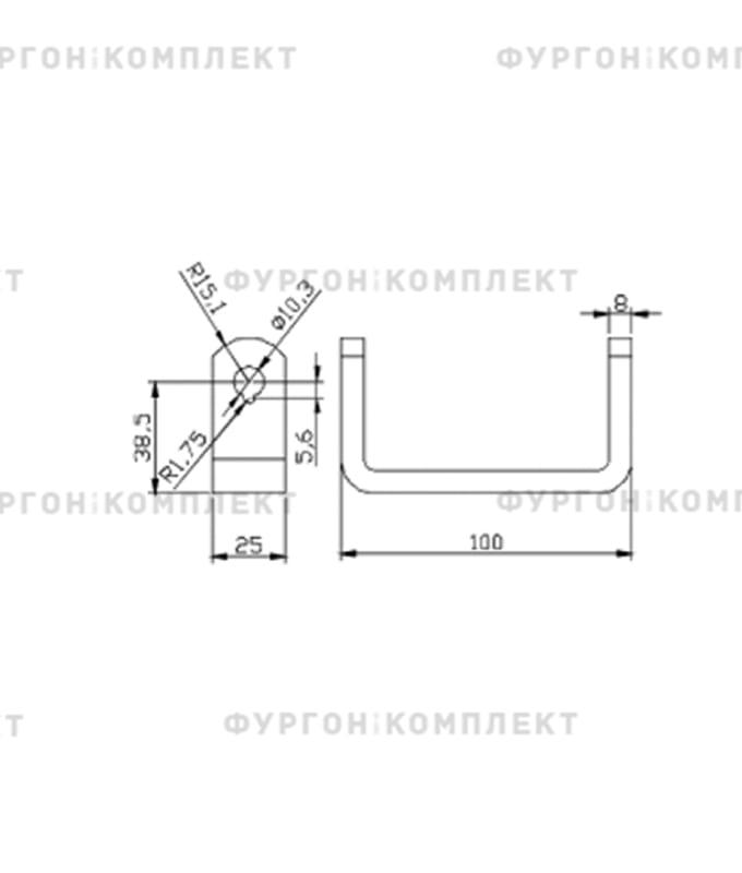 Петля заднего портала (длина 320 мм, нержавеющая сталь)