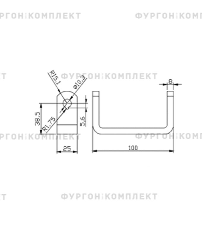 Петля заднего портала (длина 320 мм, оцинкованная сталь)