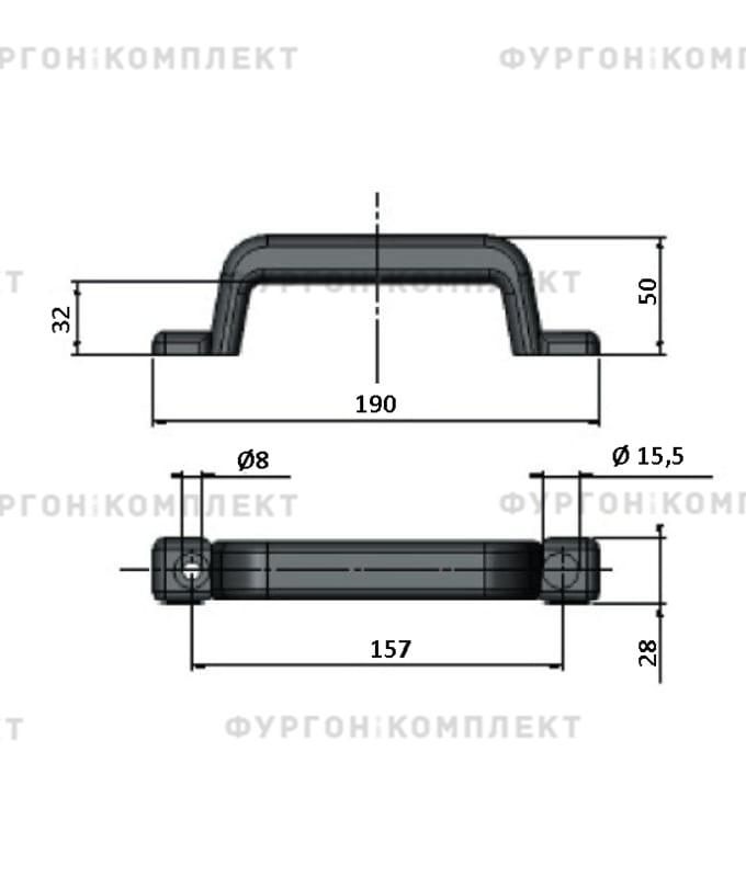 Ручка пластиковая со стальной пластиной (длина 190 мм)