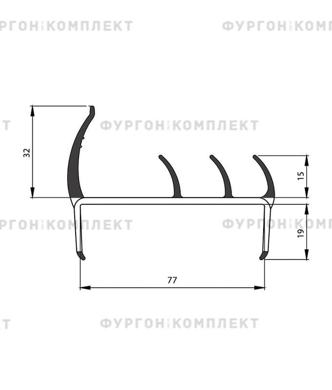 Уплотнитель резино-пластиковый (размер 78 мм)
