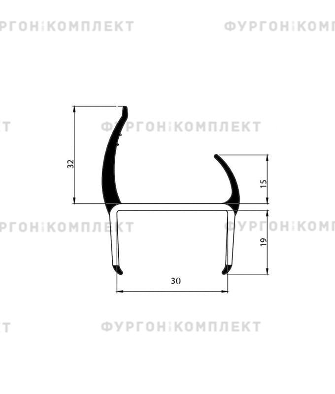 Уплотнитель резино-пластиковый (размер 30 мм)