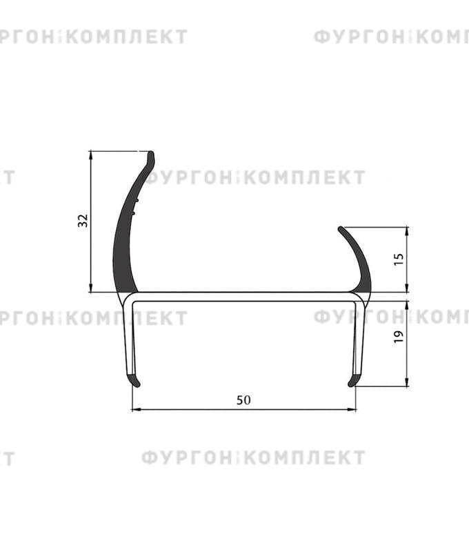 Уплотнитель резино-пластиковый (размер 50 мм)