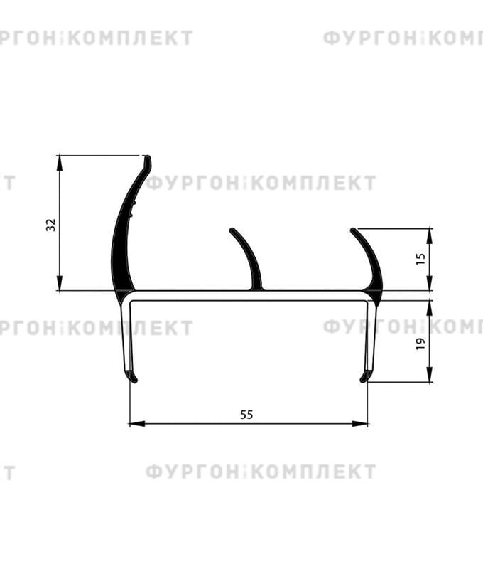 Уплотнитель резино-пластиковый (размер 55 мм)