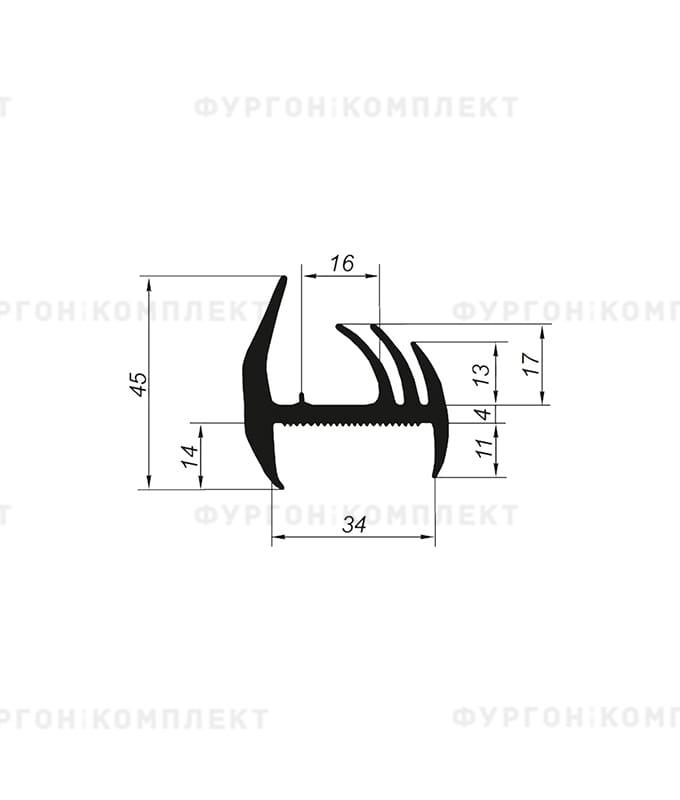 Уплотнитель резиновый → 34мм (3лепестка)