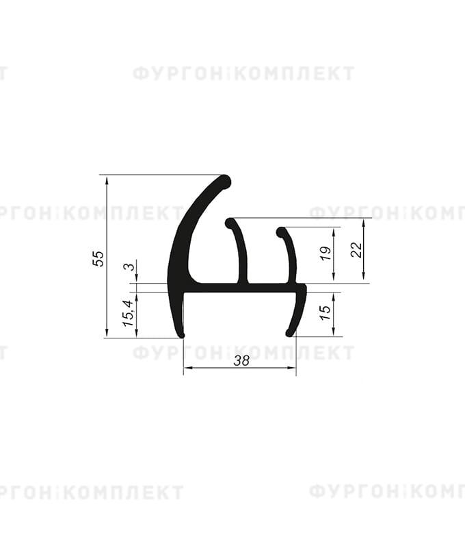 Уплотнитель резиновый → 38мм (2лепестка)