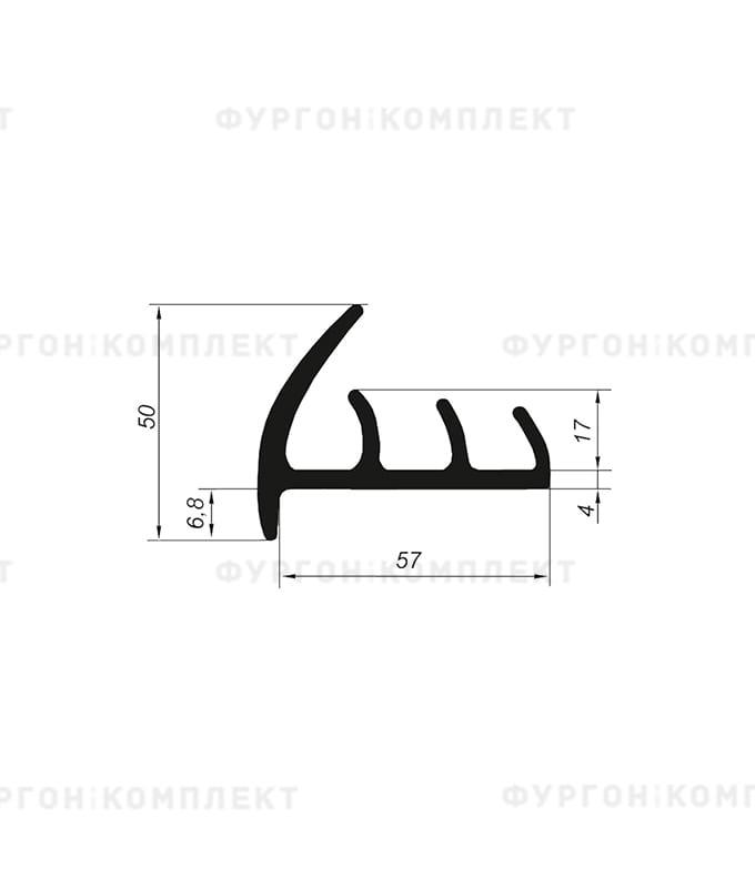 Уплотнитель резиновый → 57мм (3лепестка)
