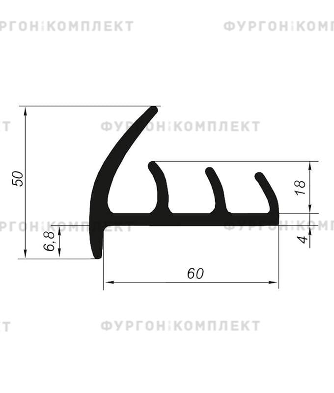 Уплотнитель резиновый → 60мм (3лепестка)