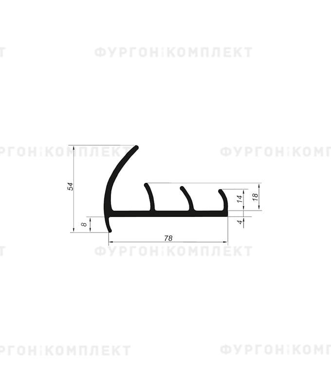 Уплотнитель резиновый → 78мм (3лепестка)